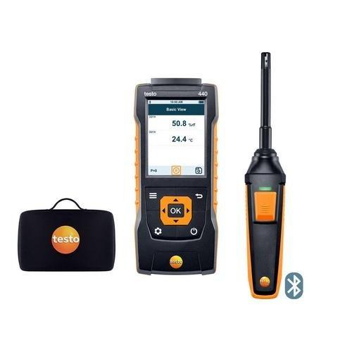 Testo 0563 4404, 440 Humidity Kit with Bluetooth, 440 Air Velocity and Humidity Probe, 1 Kit