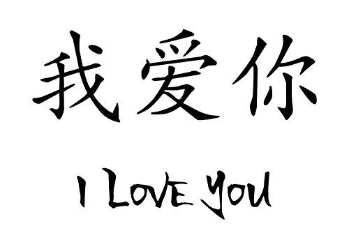- I Love You Decor Japanese Kanji Art Decal is a Chinese Kanji Symbol Virtues Wall Decal. Size 22 x 14.75. Many Colors-Black