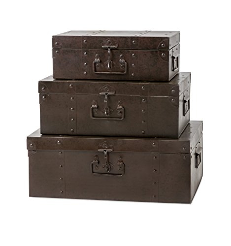 Imax Trisha Yearwood Home Collection 10506-3 Persimmon Metal Trunks (Set of 3)