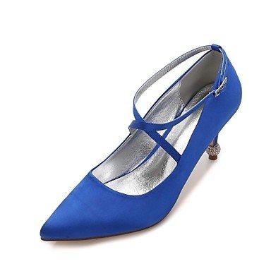 Las Mujeres'S Wedding Shoes Confort Satin Primavera Verano Boda Vestido De Noche &Amp; Rhinestone Bowknot Champán Heelivory Plana Rubí Azul US6 / EU36 / UK4 / CN36