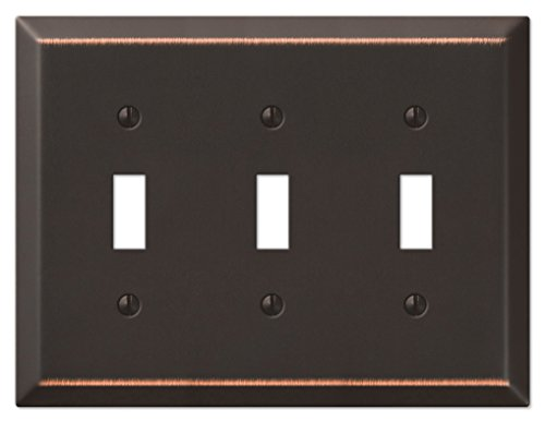 Amerelle 163TTTDB Traditional Steel Wallplate with 3 Toggle, Aged Bronze Antique Bronze Wall Plate