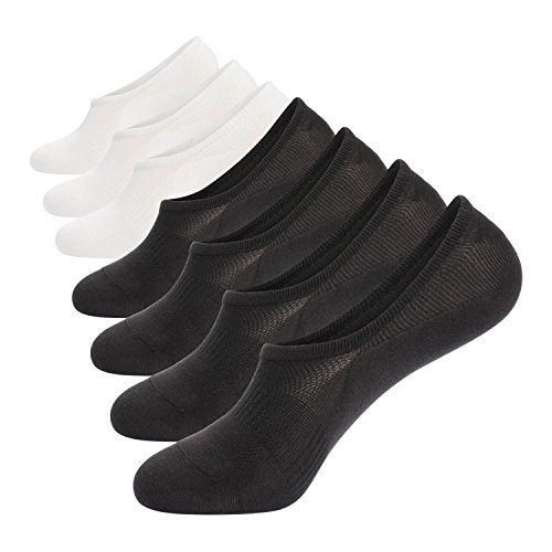 - No Show Socks Mens Pack 7 Pairs Cotton Thin Non Slip Low Cut Men Invisible Boat Liner Sneaker Sock Dry Fit (6-9) 4black+3white