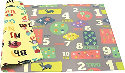 Baby Care Play Mat - Playful Collection (Letters & Numbers, Large) - Play Mat for Infants - Non-Toxic Baby Rug - Cushioned Baby Mat Waterproof Playmat - Reversible Double-Sided Kindergarten Mat