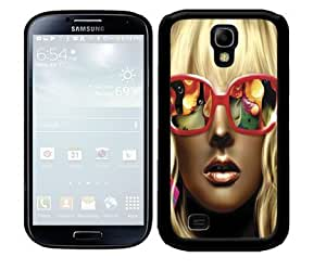 Blonde Hottie Girl with Makeup and Red Sunglasses Showing Reflection 2-Piece Dual Layer High Impact Black Silicone Cell Phone Case Cover Samsung Galaxy S4 I9500