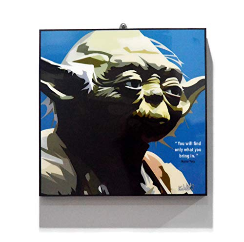 Pop Art Star Wars Movie Quotes [ Master Yoda ] Framed Acrylic Canvas Poster Prints Artwork Modern Wall Decor, 10
