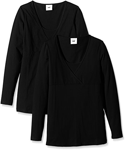 Mamalicious Sofia Tess Long Sleeve Top Nursing - Basic 2 Pack-Camisa Mujer, Negro (Black)