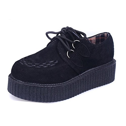 Creeper Shoe - Platform Lace Women Creeper Oxfords Fashion Cute Flock Flat Sneakers Casual Daily Women Shoes Black 8 B(M) US