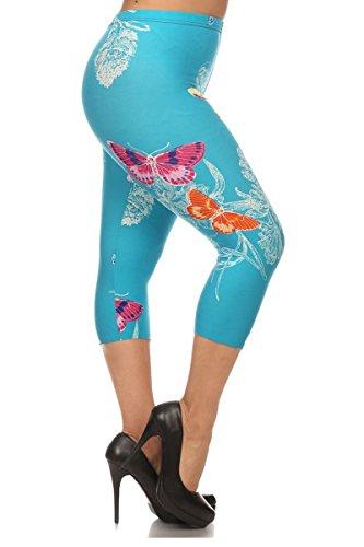 Leggings Depot Women's Plus Size High Waisted Best Selling Capri Print Leggings (Butterfly Paradise)