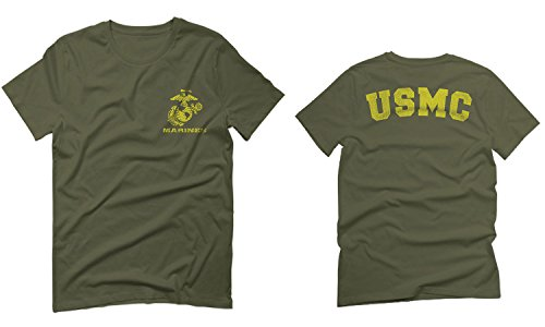 Marines Marine Corps USMC Logo Seal United States America USA American for Men T Shirt (Olive Green, 2X-Large)