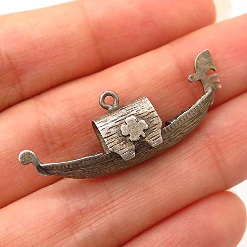 925 Sterling Silver Antique Asian Sampan Boat Design Charm Pendant Jewelry Making Supply by Wholesale Charms from Wholesale Charms