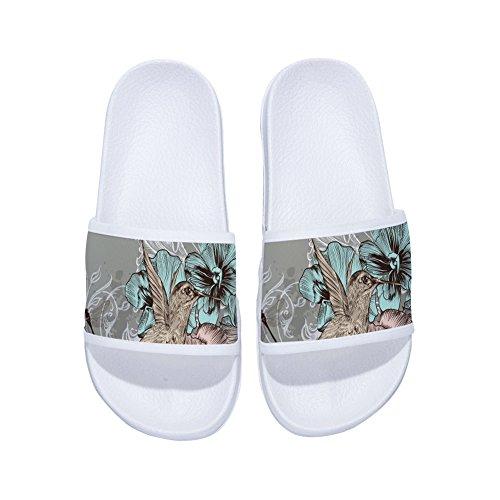 de Antideslizantes Secado Pájaros Flores Zapatillas de Blanco Rápido y Mujer para Diseño O5H7w