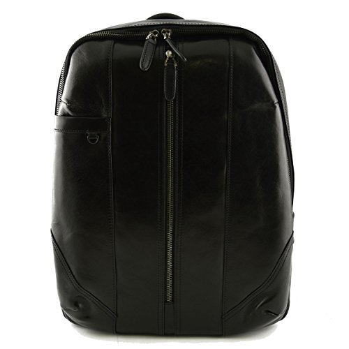 Rucksack Aus Echtem Leder Farbe Schwarz - Italienische Lederwaren - Rucksack