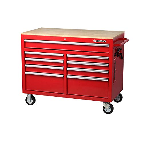 Husky 46 in. W x 24.5 in. D 9-Drawer Mobile Workbench with Solid Wood Top RED Drawer Red Mobile Tool Cabinet