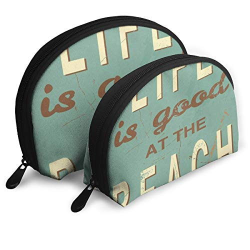 Makeup Bag Life Is Good At The Beach Quotes Handy Shell Clutch Pouch Bags Holder For Women ()