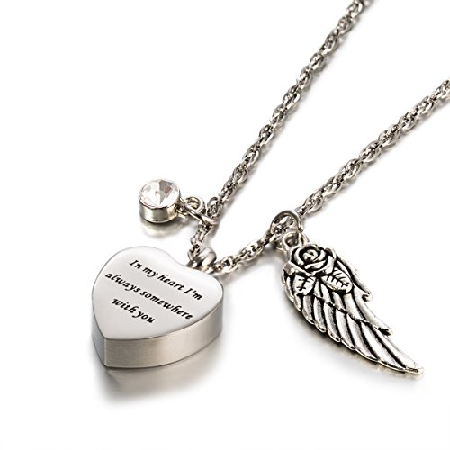 Engraved Personalised Cremation Urn Jewelry I am Always With You Angle Wings Birthstone Pendant Memorial Ash Keepsake Necklace (Engraved Pendant Charm Metal Heart)
