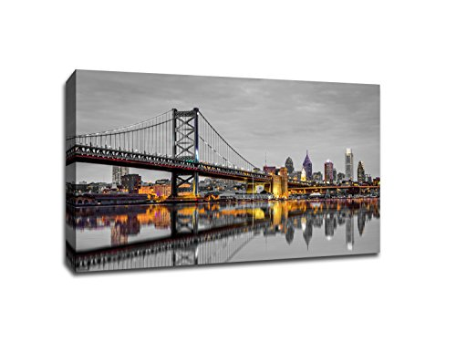 Philadelphia - Touch of Color Skylines - Gallery Wrapped Canvas 24x16 ToC