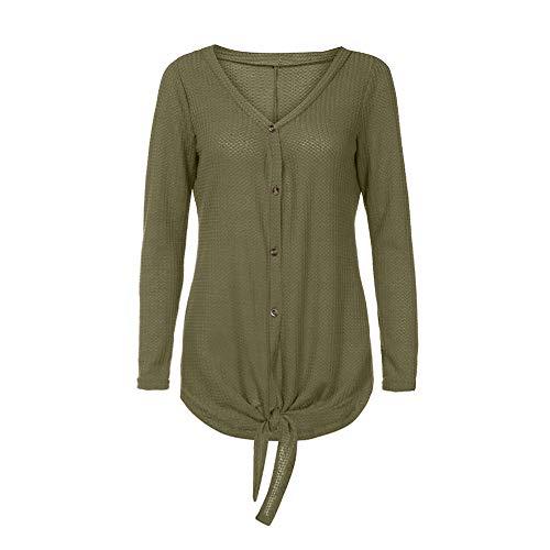 VJGOAL Femmes Tops Kaki Plain Chic Wing LaChe Blouse Shirts Vert Bat Tunique Cravate Noeud Tricot Bouton Femme Henley Hiver Top AA1drq