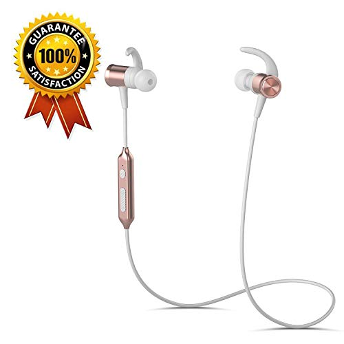 Bluetooth Headphones, Wireless Sports Running Headphones Lightweight Stereo Noise Cancelling Sweatproof with Mic Earbuds Cordless Earphones in Ear Headsets for Gym Workout Compatible iPhoneRose Gold