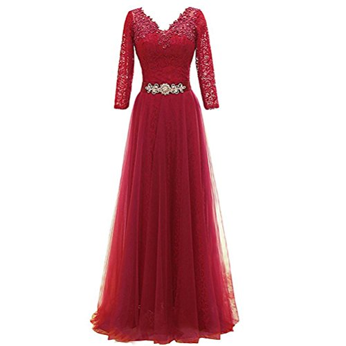 collo 3 Abiti Prom V Da Cocktail Maniche Red D occasione Sera Pizzo Donna  Elegante Lunghi ... a212466f453