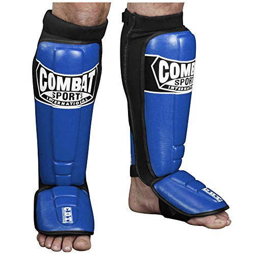 Combat Sports Pro-Style MMA Shin Guards, Blue, Large