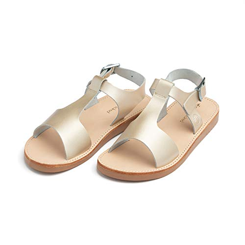 Freshly Picked - Malibu Toddler Boy Girl Leather Sandals - Size 4 Platinum Gold