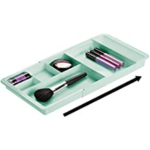 mDesign Expandable Bathroom Drawer Organizer for Vanity Cabinet to Hold Makeup, Beauty Products - Mint Green