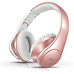Bluetooth Headphones Over Ear, WXY Foldable Wireless and Wired Bluetooth 4.2 Headphones with Microphone, on Headsets Volume Control for Kids Women in Cell Phones iPhone TV PC, Rose Gold