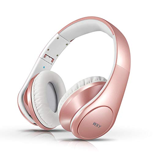 Bluetooth Headphones Over Ear - WXY Foldable Wireless and Wired Bluetooth 4.2 Headphones with Microphone - on Headsets Volume Control for Kids Women in Cell Phones iPhone TV PC - Rose Gold