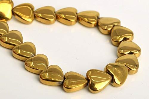 8MM Gold Hematite Heart Grade AAA Natural Gemstone Loose Beads 7.5