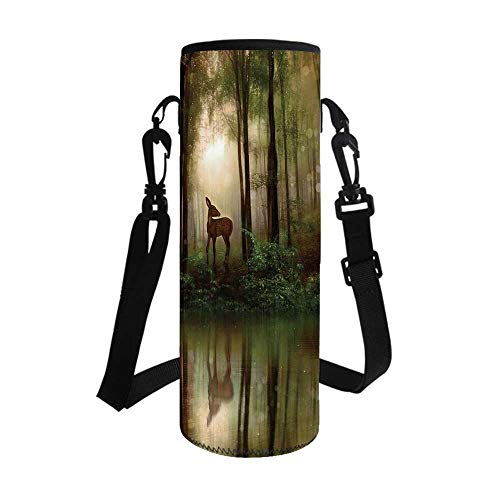 Nature Stylish Bottle Sleeve,Baby Deer in The Forest with Reflection on Lake Foggy Woodland Graphic for Bottle & Vacuum Cup,3.1''L x 3.1''W x 7.4''H