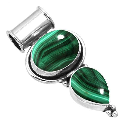 Natural Malachite Pendant 925 Sterling Silver Handmade - Necklace Oval Malachite