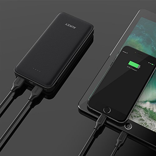 AUKEY 20000mAh electrica Bank by using USB C In Out moveable Charger two times USB Battery Pack for Google Pixel XL iPhone X 8 Plus iPad Air 2 and more around Chargers