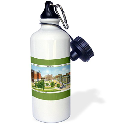 3dRose wb_170625_1 'Memorial Square Nashville Tennessee Scene with Vintage Cars' Sports Water Bottle, 21 oz, White