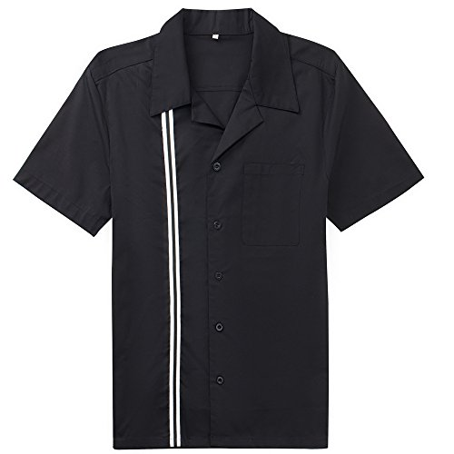 Wanlian Vintage Retro Bowling Shirts Plus Size Shirts Rockabilly Clothing for Men (XX-Large)