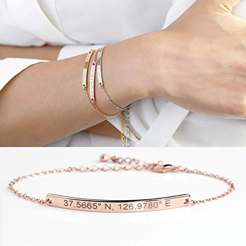 Personalized Name Plate Gold Bar Bracelet in Handmade Wedding Jewelry for Women Bridesmaid Gifts Anniversary Best Friend Gifts For Mom Christmas Gift - 12BR ()