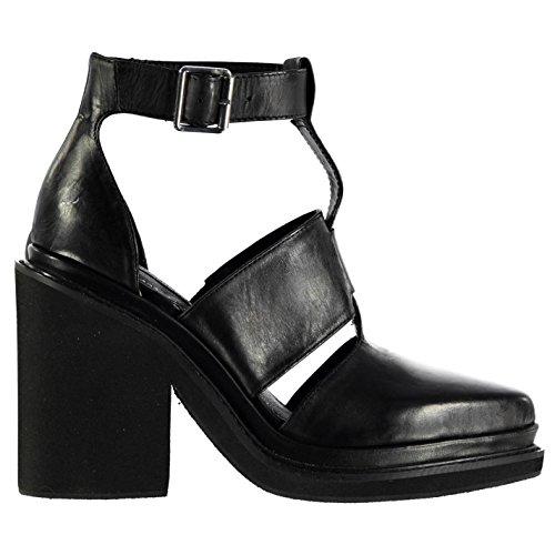 Windsor Smith Damen Weapon Leder Schuhe Blockabsatz High Heel Knoechelriemen Schwarz