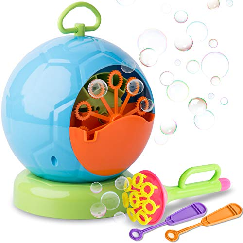 Price comparison product image Automatic Bubble Blower – Bubble Machine for Birthday Party, Fun Outdoor Activities, Weddings – Non-Toxic, High Quality Plastic, Portable – High Output Machine + BONUS Wands & Dip Tray by Duddy