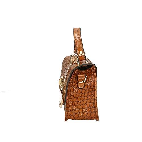 à Borse Chicca 20x15x8 Pochette Made véritable en Sac in Bronzage cuir cm main Petit Italy dtqTq