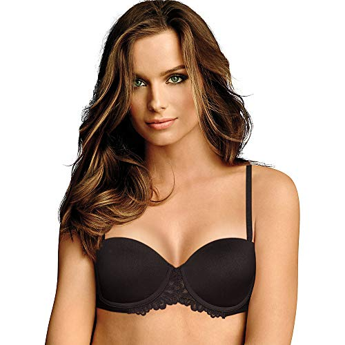 Maidenform Self Expressions Women's Convertible Push Up Bra with Lace Bra, Black, 34C