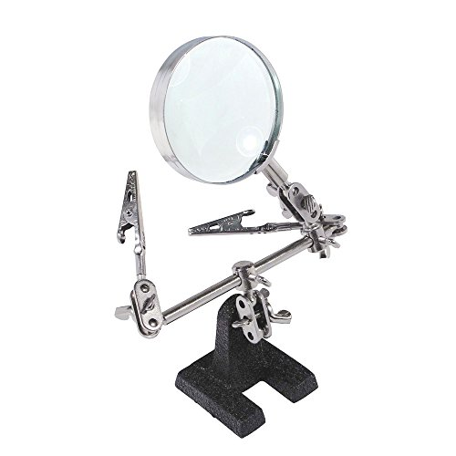 Aenmil® Third Hand Clamp Magnifying Tool With Two Adjustable Locking Arms with Alligator Clip Jaws and Magnifying Glass Can be Configured in Many Ways Precision for Soldering Work, Electronics and Model Making