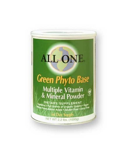 All One Powder Multiple Vitamins & Minerals, Green Phyto Base, 2.2-Pound Can
