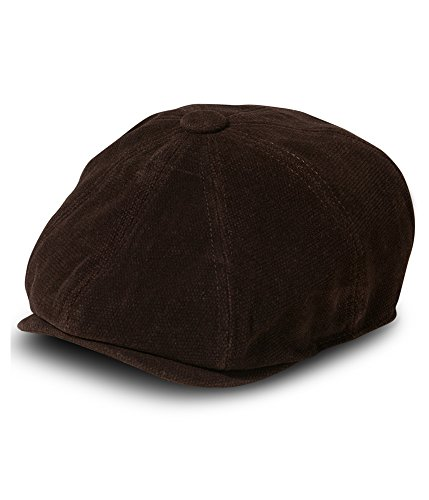 Sean John Men's 8 Panel Flat Cap, 100% Heavy Cotton Moleskin Fabric, Brown, Medium/Large
