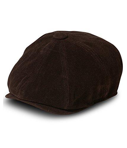 Sean John Men's 8 Panel Flat Cap, 100% Heavy Cotton Moleskin Fabric, Brown, Large/XLarge