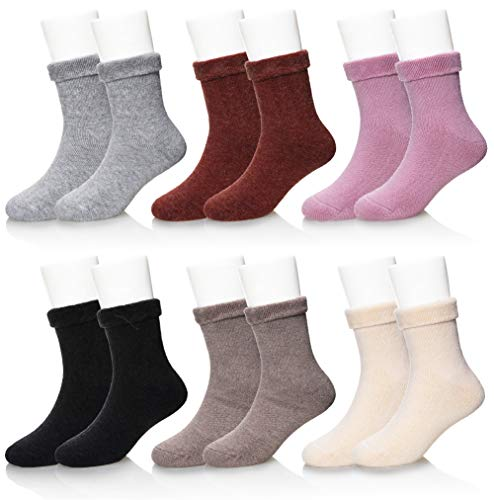 SEEYAN Kids Boy Girls Soft Warm Thick Breathable Winter Socks Basic Color Wool Children Socks 6 Pairs Random Color (Solid Color, 6-8 Years) -