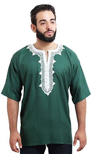 3ca6007e0fc33b Moroccan Men Tunic Caftan Breathable Fiber Cotton Handmade Embroidery  Ethnic Green