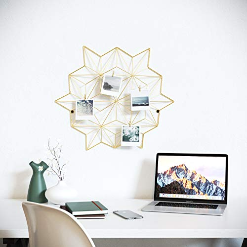 Cevillo Stylish Wire Metal Wall Grid Panel - Perfect as Photo Frame, Office Organization - Gold Multi-Functional Wall Storage Display (Gold | Angles) ()