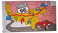 Route 66 (Map) ~ 3' x 5' Polyester Novelty Flag