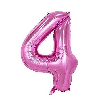ShopVip Globos de cumpleaños - número 4 - Decoración Cumpleaños gigante de bodas 80 CM - Número de globo gigante rosa - Número de globo 4 años - ...