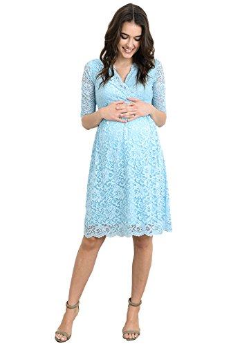 HELLO MIZ Womens Lace Maternity Dress with Nursing Friendly Faux Wrap