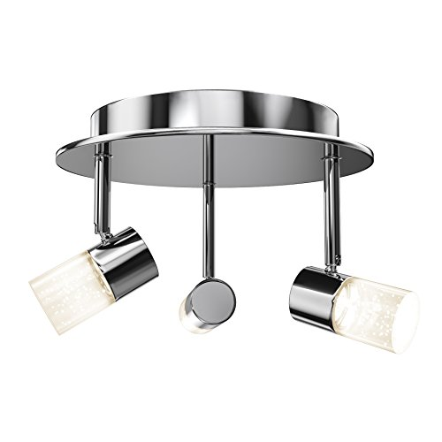 Plated Ceiling Light - Artika CL36W-HD1 Essence Flare RD Multi-Directional Flushmount Ceiling Light Fixture 3x6W with Integrated LED, Chrome Plated Finish